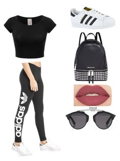 Casual and cute by laineyhall on Polyvore featuring polyvore, fashion, style, adidas Originals, adidas, Michael Kors, Christian Dior, Smashbox and clothing