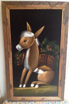 Rare Sweet Burro Donkey With Cart Velvet Painting Made in Mexico