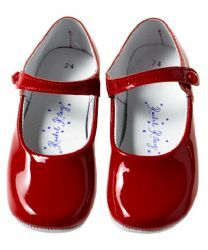 Rachel Riley Patent Button Strap Slippers