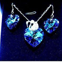 la moda de cristal azul oscuro (incluye collar&pendientes) Sistema de la joyería