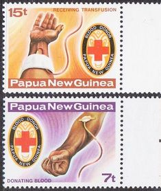 Papua New Guinea - Red Cross stamps - Donating and Receiving Blood.