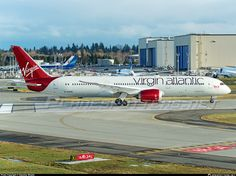 Virgin Atlantic airways' second dreamliner on its first flight - Photo taken at Everett - Snohomish County / Paine Field (PAE / KPAE) in Washington, USA on December Paine Field, Boeing 787 9 Dreamliner, Virgin Atlantic, Aircraft Pictures, Airplanes, Aviation, Airports, Red, Photos