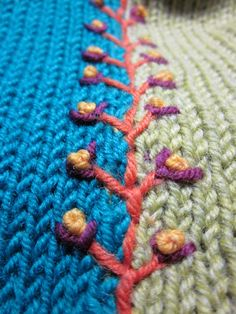 Embroidery atop knitting