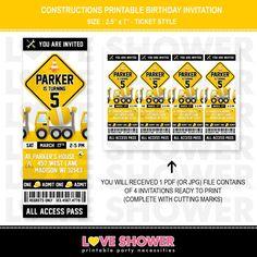 Constructions Birthday Invitation Ticket Style - Yellow White Black - Printable - Digital - Print Your Own - PDF JPG