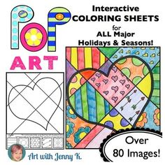 """Make some Pop Art for Valentine's Day! This big collection of """"Pop Art"""" interactive coloring sheets are more than """"just coloring."""" Included are designs for all holidays and seasons!"""