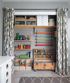 Taking the Closet From Scary to Airy: After | The work space/craft room of Pennsylvania newlywed Jess Mauras (shown here with husband Joe) was a pile of stress and ribbons, devoid of inspiration—and, for that matter, shelving. Real Simple transformed it into three tidy zones that foster calm and creativity.