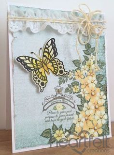 Today I am sharing a couple of cards using Heartfelt Creations Butterfly Medley collection. My first card uses a panel of t. Butterfly Cards, Flower Cards, Paper Flowers, Heartfelt Creations Cards, Card Tags, Gift Tags, Card Maker, Card Sketches, Color Card