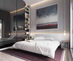dressing intégré recouverts de miroirs et suspension design dans la chambre adulte