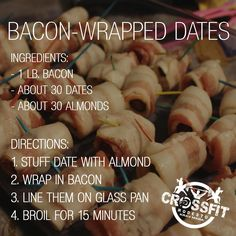 BACON WRAPPED DATES recipe - nature's candy! You can also stuff with pecans instead of almonds.