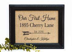 FRAMED Housewarming Gift | Our First Home Burlap Print | Personalized Address Sign | New House Gift | New Homeowner, Arrows, Arrow by BlessedHomesteadShop on Etsy