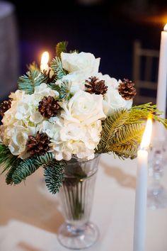 winter centerpiece with pinecones | Collin Ritchie #wedding
