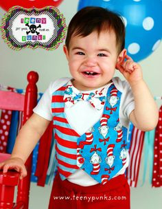 Look at how darn cute this item is. Kisses kisses.   Dr Seuss Cat in the Hat Tuxedo Onesie or by TeenyPunksBoutique, $33.00