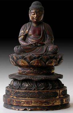 Antique Japanese Gilt Lacquered Wood, Amida Buddha In Meditation   Edo Period, Circa: 18th century