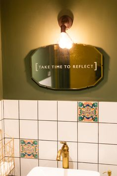 Take time to reflect etched onto mirror #hollyandco #reflect #kintsugi #repairyourself #youcan #inspirational #diy