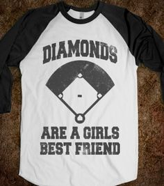 Diamonds Are A Girls Best Friend (Vintage Baseball) - Sports Fun - Skreened T-shirts, Organic Shirts, Hoodies, Kids Tees, Baby One-Pieces and Tote Bags