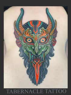 Traditional devil head tattoo