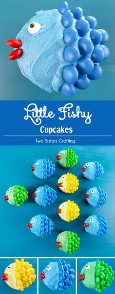 Little Fishy Cupcakes - pretty, colorful, yummy and very easy to make. This adorable Cupcake Recipe is always a crowd favorite. We promise, anyone can make these cute Fish Cupcakes. All you need are cupcakes, frosting and M&M's. Save these cute cupcakes for later and follow us for more fun cupcake decorating ideas. via @2SistersCraft