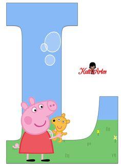 Alfabeto de Peppa Pig y Perrito 2. - Oh my Alfabetos! Invitacion Peppa Pig, Cumple Peppa Pig, Peppa E George, George Pig, Pig Birthday Cakes, 2nd Birthday, Familia Peppa Pig, Disney Pig, Peppa Pig Teddy