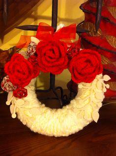 Ghirlanda con rose uncinetto