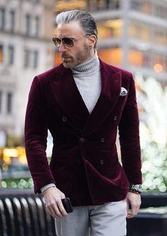 Dress Suits For Men, Men Dress, Cocktail Dress For Men, Turtleneck And Blazer, Blazer Outfits Men, Gentleman Style, Gentleman Fashion, Designer Suits For Men, Mens Fashion Suits