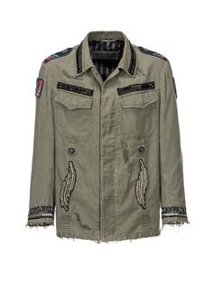 This military-inspired safari jacket is crafted from cotton and features a mix of embroidery, sequins and beads. The perfect item that combines utility and style.