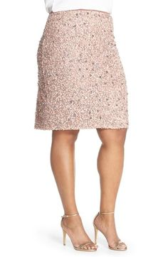 Adrianna Papell Sequin Skirt (Plus Size) at Nordstrom.com. Tonal matte sequins and shimmering silvery ones trace radiant glam on the mesh overlay of a short, slim skirt in a dusty-rose hue.