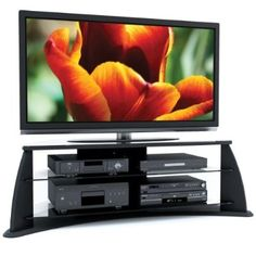 awesome Sonax FP-5000 Florence 51-Inch Midnight Black TV Stand with Glass Shelves - For Sale Check more at http://shipperscentral.com/wp/product/sonax-fp-5000-florence-51-inch-midnight-black-tv-stand-with-glass-shelves-for-sale/