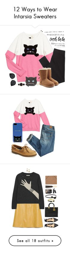 """12 Ways to Wear Intarsia Sweaters"" by polyvore-editorial ❤ liked on Polyvore featuring waystowear, intarsiasweater, Kate Spade, Assouline Publishing, American Eagle Outfitters, UGG Australia, Michael Kors, Quay, Sperry Top-Sider and tops"