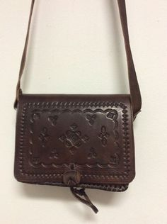 Moroccan 100% Embossed Brown Thick Leather Hand Made Small Bag Cross Body Purse #Handmade #Satchel