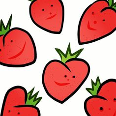 Strawberry  #art #fruit #healthy #eat #snack #popart #digitalart #illustration #drawing #picture #red #cartoon