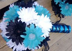Daisy Bouquet Turquoise White Black Daisy by SilkFlowersByJean, $54.00