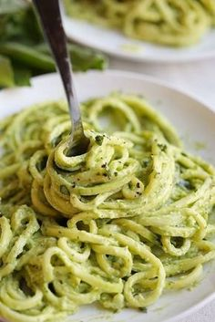 Zucchini noodles tossed together with a creamy avocado pesto that can be easily made in under 20 minutes for a perfectly healthy weeknight dinner! Zucchini Noodles with Creamy Avocado Pesto Low Carb Recipes, Vegetarian Recipes, Cooking Recipes, Healthy Recipes, Avocado Recipes, Delicious Recipes, Easy Recipes, Vegan Meals, Vegan Zoodle Recipes