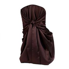 Chair Cover, Chocolate Satin Bag Style | Linen Effects - Minneapolis, MN | Chair cover rentals