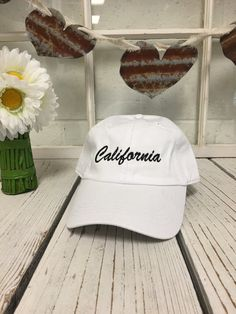 CALIFORNIA Baseball Hat Low Profile Embroidered Baseball Caps Dad Hats White