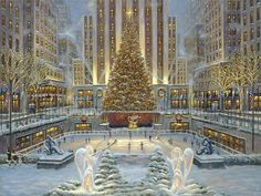 Robert finale, holiday, angels, christmas tree, ice rink, winter, snow, people, painting wallpaper - ForWallpaper.com
