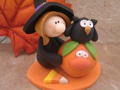 Halloween Witch and Owl by countrycupboardclay on Etsy