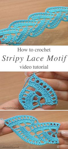 Stripy Lace Crochet Motif Free Pattern Video Tutorial