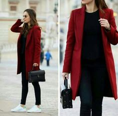 camel coat outfits to stay sexy and warm this season 1 Red Coat Outfit, Winter Coat Outfits, Winter Fashion Outfits, Look Fashion, Fall Outfits, Casual Outfits, Womens Fashion, Red Winter Coat, Fashion Coat