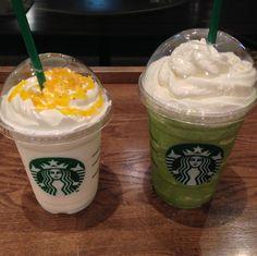 """Candy Orange Frappuccino"" ""Matcya Cream Frappuccino"" Starbucks Japan"