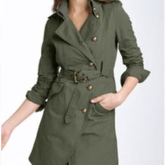 Nordstrom Jacket Nordstrom Jacket. Size Medium. Color is Army Green. 100% Cotton. Coat does fall below the waist. Has small spot on bottom of coat, shown in picture. Otherwise, in good condition and very stylish! Jackets & Coats Pea Coats