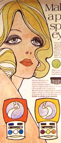 """Model Eyes Makeup Ad - detail, From """"The 1960s Scrapbook"""" by Robert Opie"""