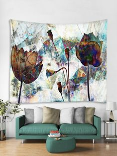 Abstract Floral Print Wall Hangings Tapestry   Multicolor W59 INCH * L51  INCH