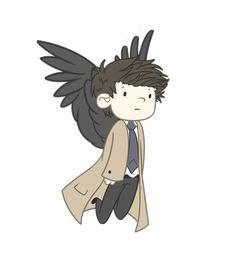 Cute flying Castiel gif. :)