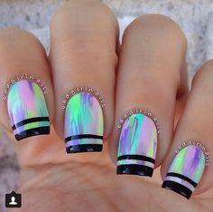Tie dye streak neon nails