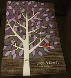 Rustic Wooden Multicolor Wedding Tree | Guest Book Alternative | Rustic Wedding | Customer Photo | Wedding Colors - Purple & Gray | peachwik.com