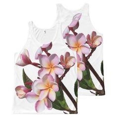 Tropical Plumeria Flowers Floral Islands All-Over Print Tank Top Tank Tops