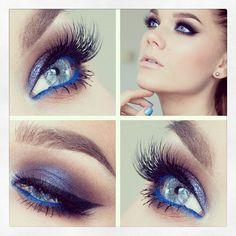 Make up: Linda Halberg - Blue eye-shadow. The blue eyeliner really makes her eyes pop Glitter Makeup Tutorial, Glitter Eye Makeup, Blue Eye Makeup, Skin Makeup, Blue Eyeliner, Blue Eyeshadow, Gorgeous Makeup, Love Makeup, Makeup Tips