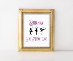Customized Name and meaning print. Personalizedprint. Dance