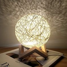 Romantic Night Light Creative INS Wind Starry Table lamp Bedroom Bedside lamp Fantasy Rattan Ball Moon Light (Light Yellow, Button Switch) Table Lamps For Bedroom, Bedside Table Lamps, Table Lamp Wood, Wooden Lamp, Easy Home Decor, Home Decor Items, Bamboo Lamp, Romantic Night, Cool Lamps