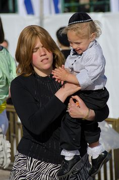 Israeli woman and son